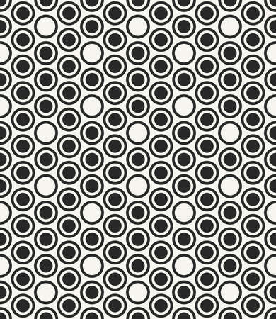 Vector seamless pattern. Modern stylish monochrome geometric background with structure of repeating circles. Ilustração