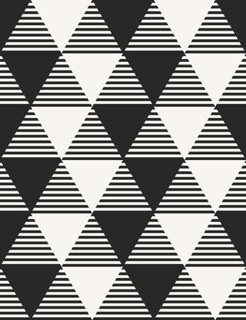 Vector seamless pattern. Modern stylish monochrome geometric background with structure of differently textured triangles.