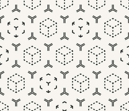 Vector seamless pattern. Modern stylish monochrome abstract geometric texture with structure of repeating cubes and hexagonal elements. Ilustração