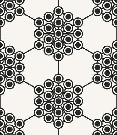 Modern stylish abstract hexagonal texture with structure of repeating circles. Vector seamless pattern. Perfect background for prints, wrapping paper and interior.