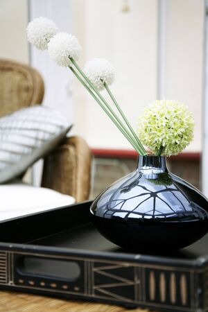 copyspace: A beautiful flower display in a designer home