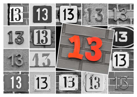 Collage of prime number thirteen, one 13 in red on black and white background