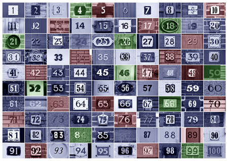 many colored: House numbers 1 to 100