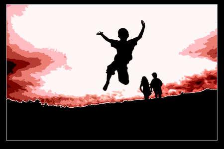 Jumping boy raising his hands Stock Photo - 12747713