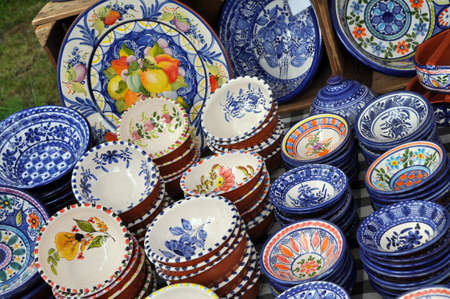 Porcelain from Portugal on a market stall photo