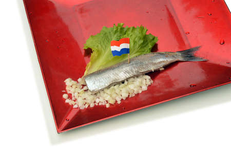 Herring fillet with Dutch flag, chopped onions and lettuce on a red plate photo