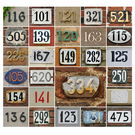 Collage of House numbers random, hundred plus