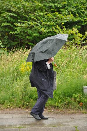 Old woman with umbrella walking in the rain Publikacyjne