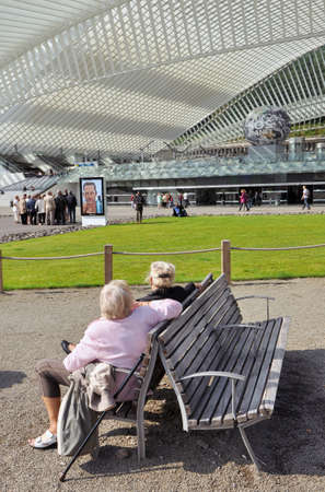 Women with a view on Liege-Guillemins railway station
