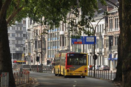 liege: Public Transportation on a bus lane in the Belgian city of Liege