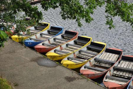 Colored rowboats waiting for Tourists photo