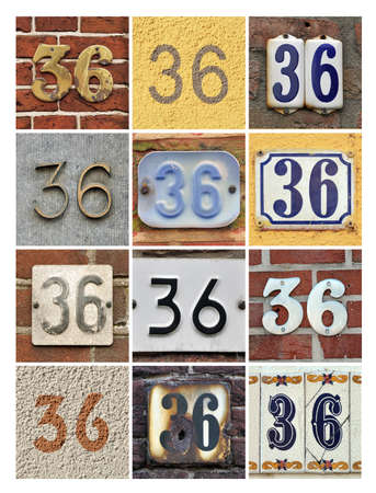 factorial: Collage of House Numbers Thirty-six