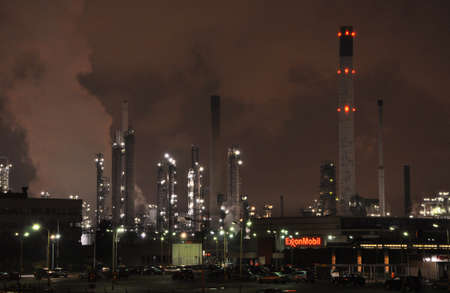 ROTTERDAM, THE NETHERLANDS -  November 6: Exxonmobil Chemical Holland by night on November 6, 2010