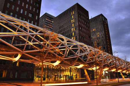 The Hague, The Netherlands - november 6 2010: Futuristic elevated speed tram track at night in Den Haag, Holland