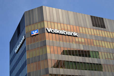 freiburg: Freiburg, Germany, August 18, 2012 - Building of the Volksbank, German for: people