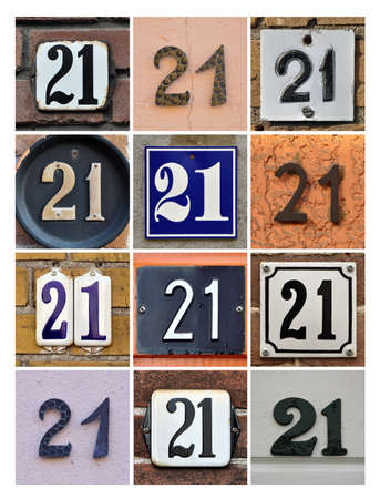 factorial: Collage of House Numbers Twenty-one
