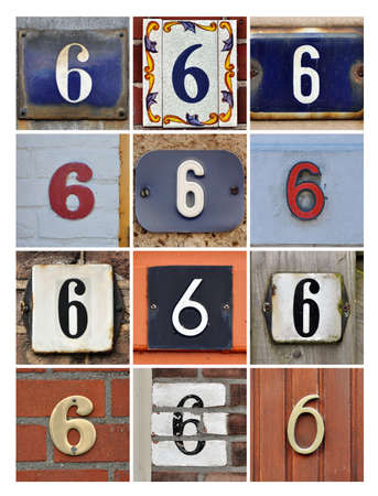 factorial: Collage of House Numbers Six