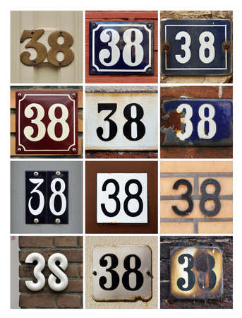 factorial: Collage of House Numbers Thirty-eight Stock Photo