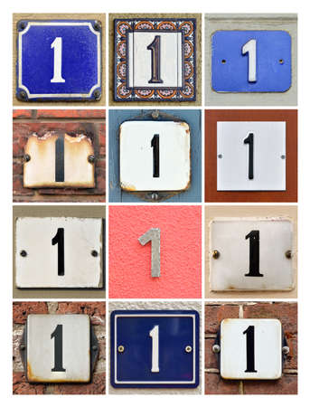 integer: Collage of House Numbers One Stock Photo