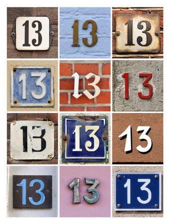 thirteen: Collage of House Numbers Thirteen