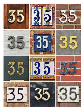 factorial: Collage of House Numbers Thirty-five Stock Photo