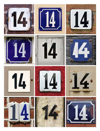 number 14: Collage of House Numbers Fourteen