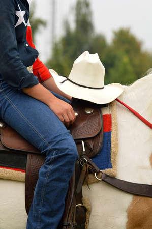 working cowboy: Cowboy hat - Detail of Western horse rider