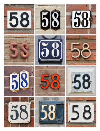 number 50: Collage of House Numbers Fifty-eight