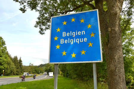 Sign at the border of Luxemburg and Belgium