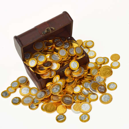 Treasury trunk with chocolate candy euro coins Stock Photo - 18261696