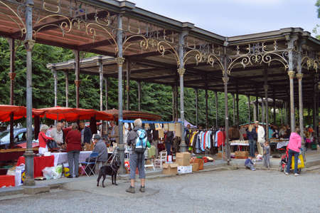 leopold: Spa, Belgium - July 2012 : Brocante, a jumble sale in the Leopold II Gallery  Editorial
