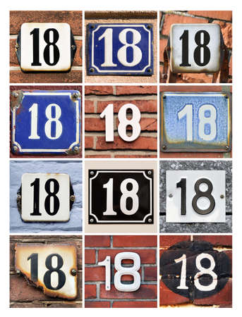 factorial: Collage of House Numbers Eighteen  Stock Photo