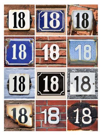 Collage of House Numbers Eighteen  Standard-Bild