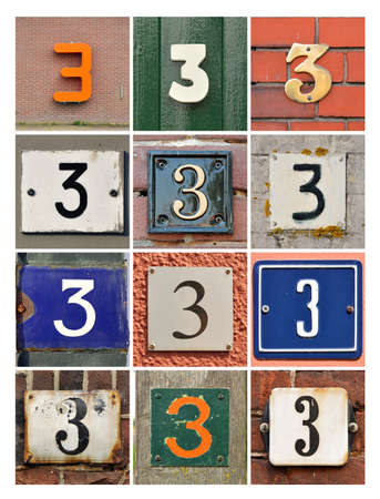 third birthday: Collage of house numbers three Stock Photo