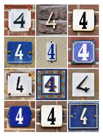 factorial: Collage of house numbers Four Stock Photo