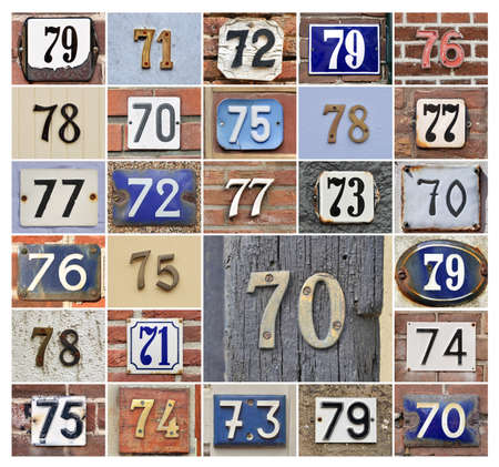 decade: Collage of House numbers 70s