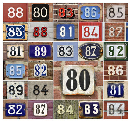 81: Collage of House numbers 80s