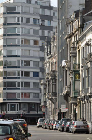 wallonie: Urban view at modern and old buildings of Blv. d Avroy, Liege, Belgium