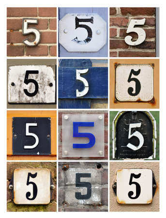 5th: Collage of House Numbers Five