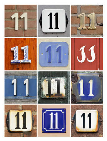 eleventh birthday: Collage of House Numbers Eleven Stock Photo