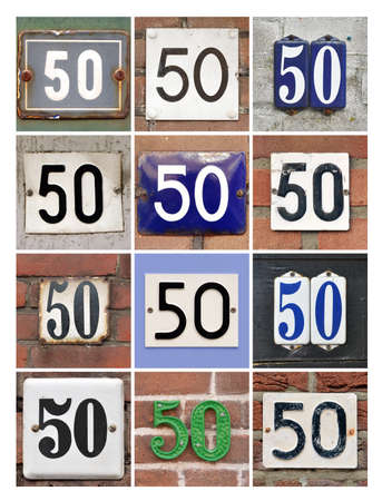factorial: Collage of House Numbers Fifty Stock Photo