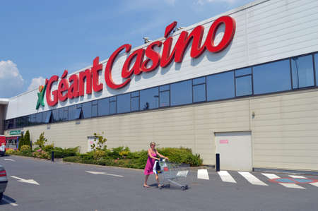Facade of a Géant Casino hypermarket, part of French retailing giant Groupe Casino, is a hypermarket chain and is based in France Editoriali