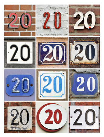 Collage van Huisnummers Twintig Stockfoto