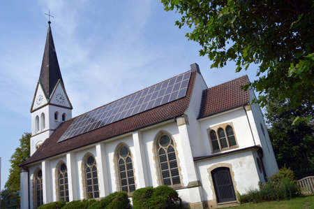 An installation of solar modules at the Christuskirche in Greven, Germany