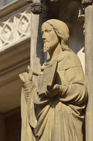 north rhine westphalia: Statue of Jesus without fingers on St  Lamberti s Church in Munster, Germany