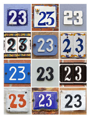 factorial: Numbers 23 - Collage of House Numbers Twenty-three Stock Photo