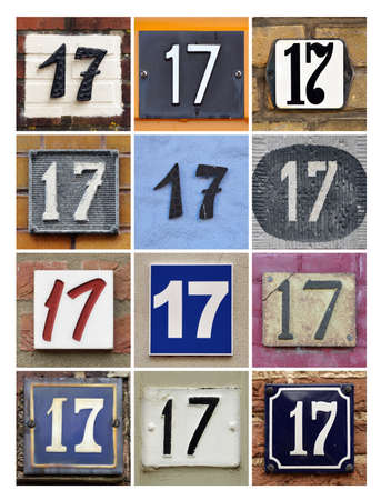 factorial: Collage of House Numbers Seventeen Stock Photo