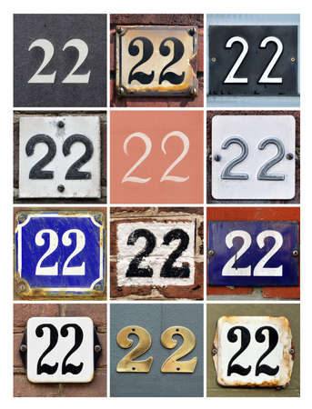 factorial: Collage of House Numbers Twenty-two