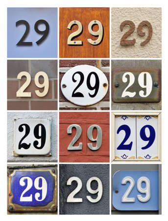 factorial: Collage of House Numbers Twenty-nine Stock Photo
