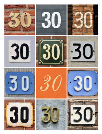 thirty: Collage of House Numbers Thirty Stock Photo